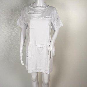 HELMUT LANG HOLEY DRESS WHITE JERSEY SIZE S G13